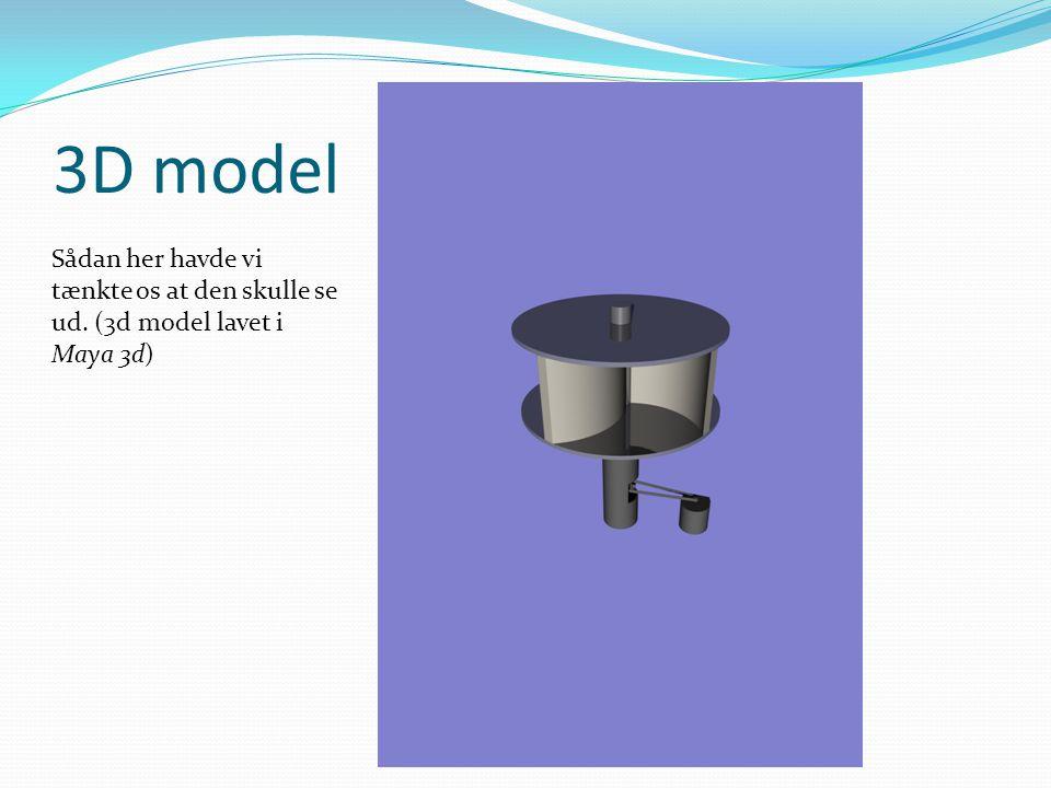 3D model Sådan her havde vi tænkte os at den skulle se ud. (3d model lavet i Maya 3d)