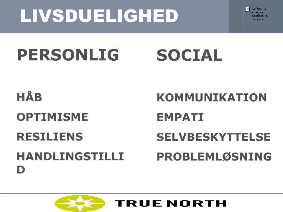 LIVSDUELIGHED PERSONLIG SOCIAL HÅB OPTIMISME RESILIENS HANDLINGSTILLID