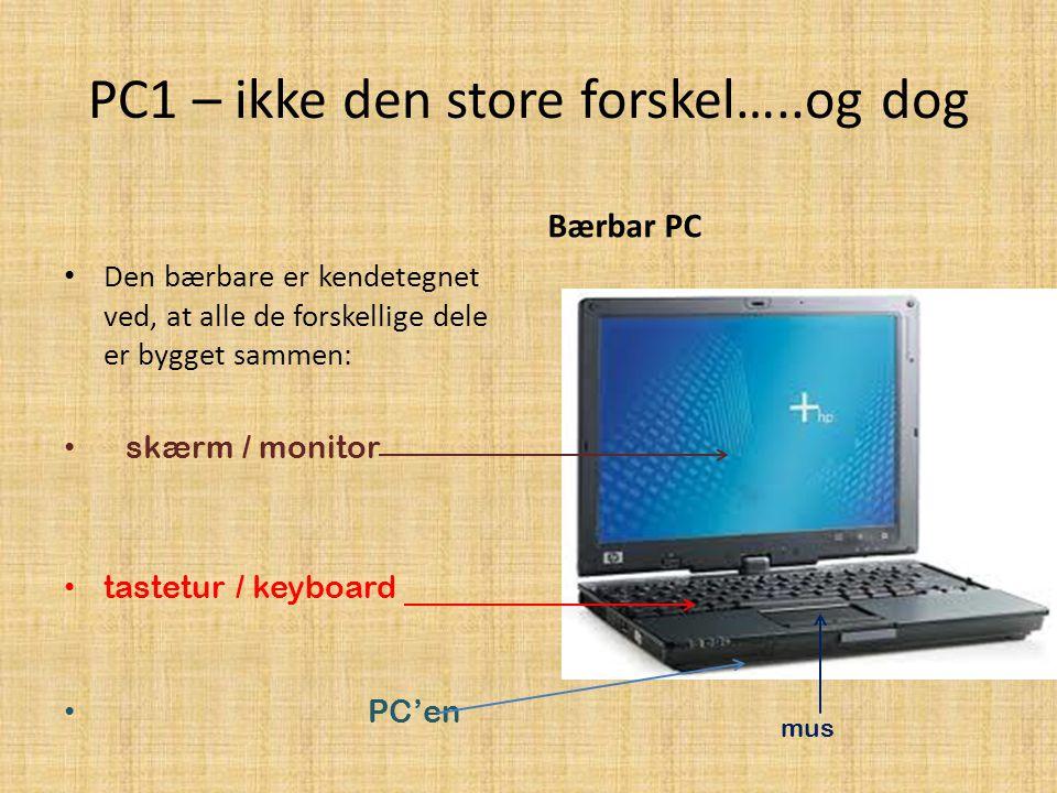 PC1 – ikke den store forskel…..og dog