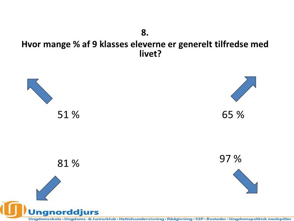 Hvor mange % af 9 klasses eleverne er generelt tilfredse med livet