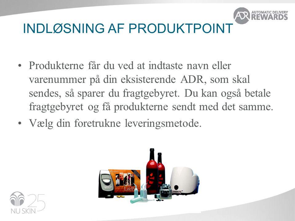 Indløsning af produktpoint