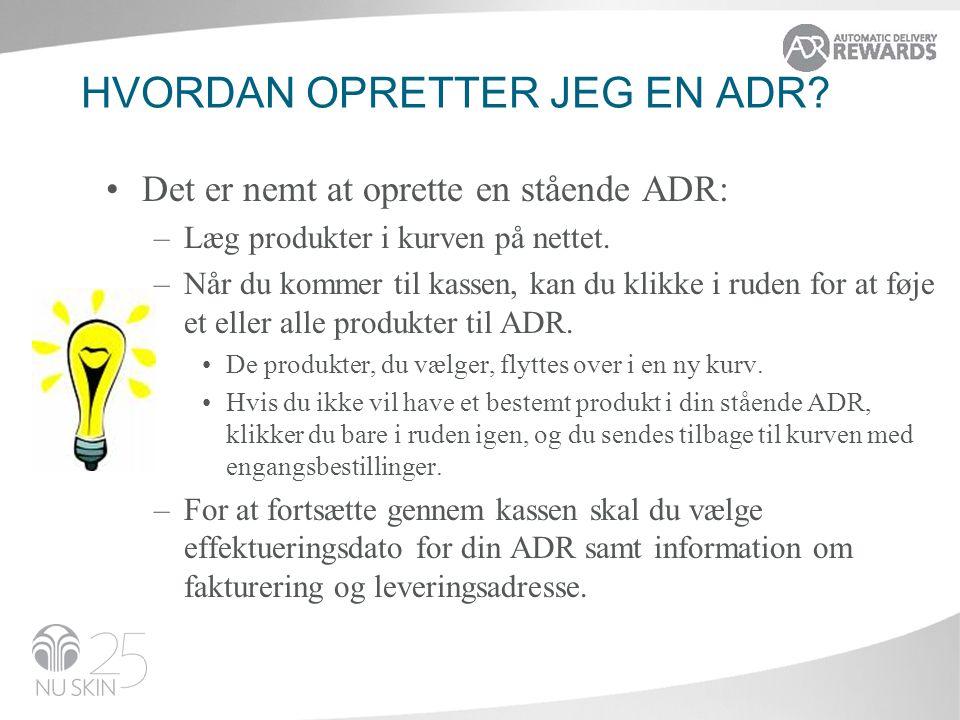 Hvordan opretter jeg en ADR