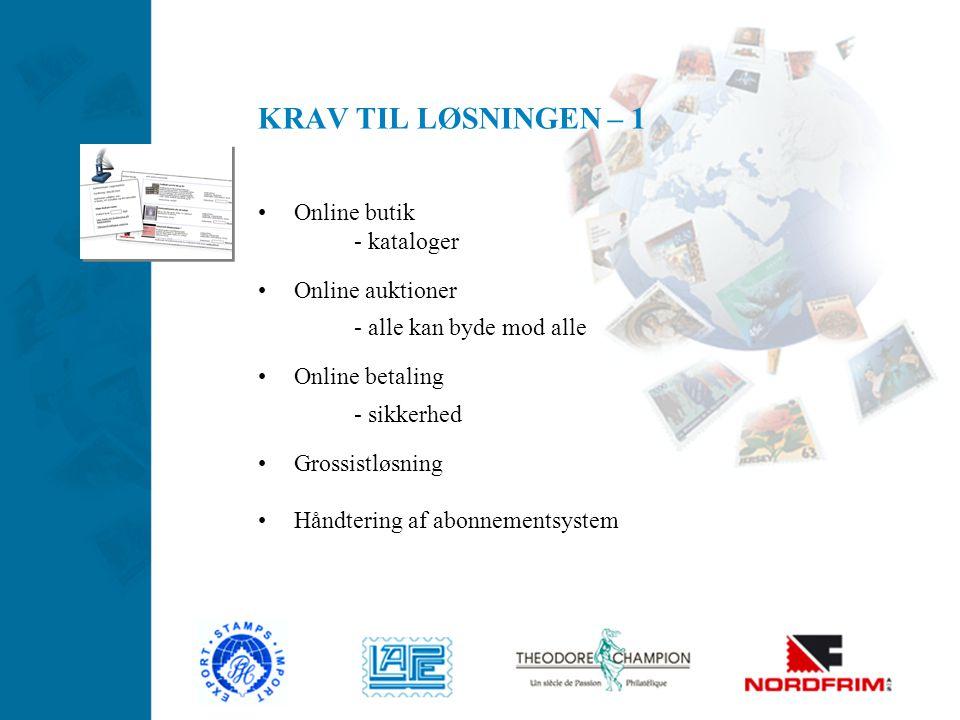 KRAV TIL LØSNINGEN – 1 Online butik - kataloger Online auktioner