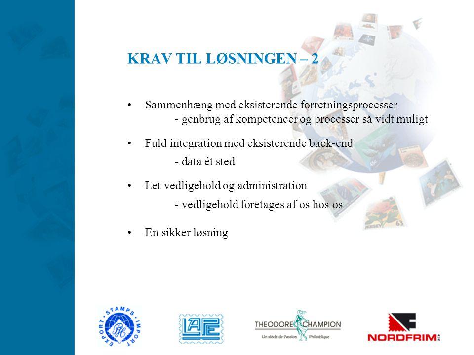 KRAV TIL LØSNINGEN – 2 Sammenhæng med eksisterende forretningsprocesser. - genbrug af kompetencer og processer så vidt muligt.