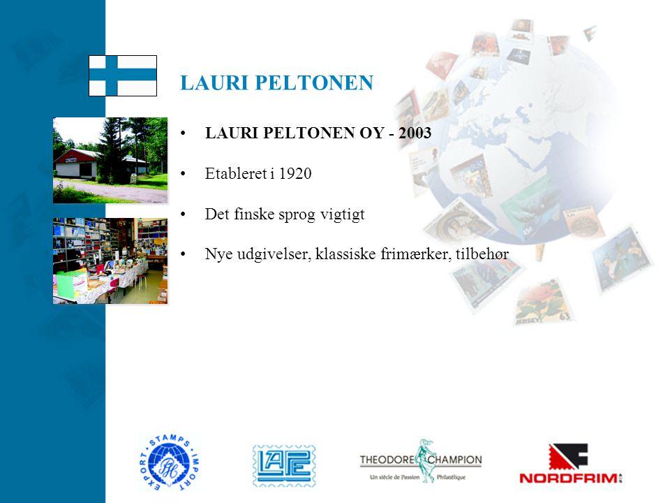 LAURI PELTONEN LAURI PELTONEN OY - 2003 Etableret i 1920
