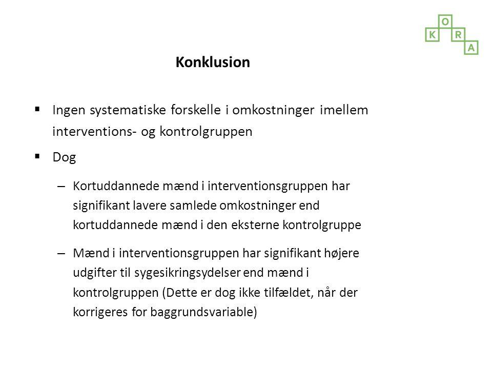 Konklusion Ingen systematiske forskelle i omkostninger imellem interventions- og kontrolgruppen. Dog.