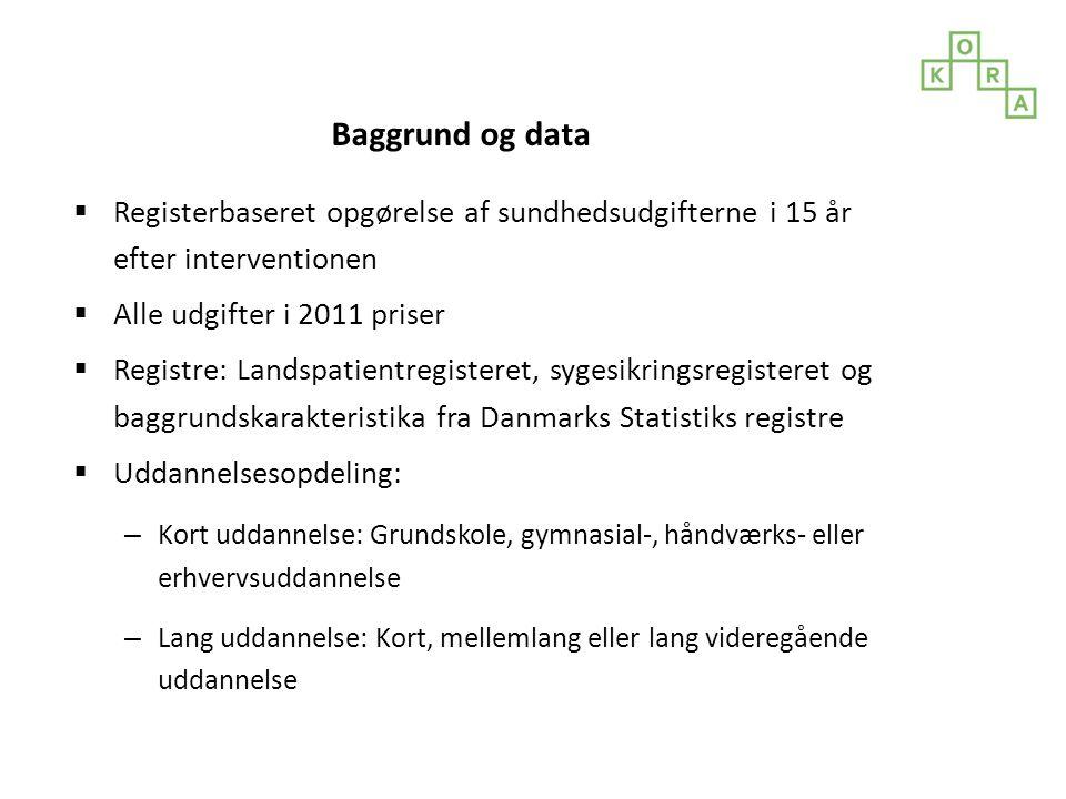 Baggrund og data Registerbaseret opgørelse af sundhedsudgifterne i 15 år efter interventionen. Alle udgifter i 2011 priser.
