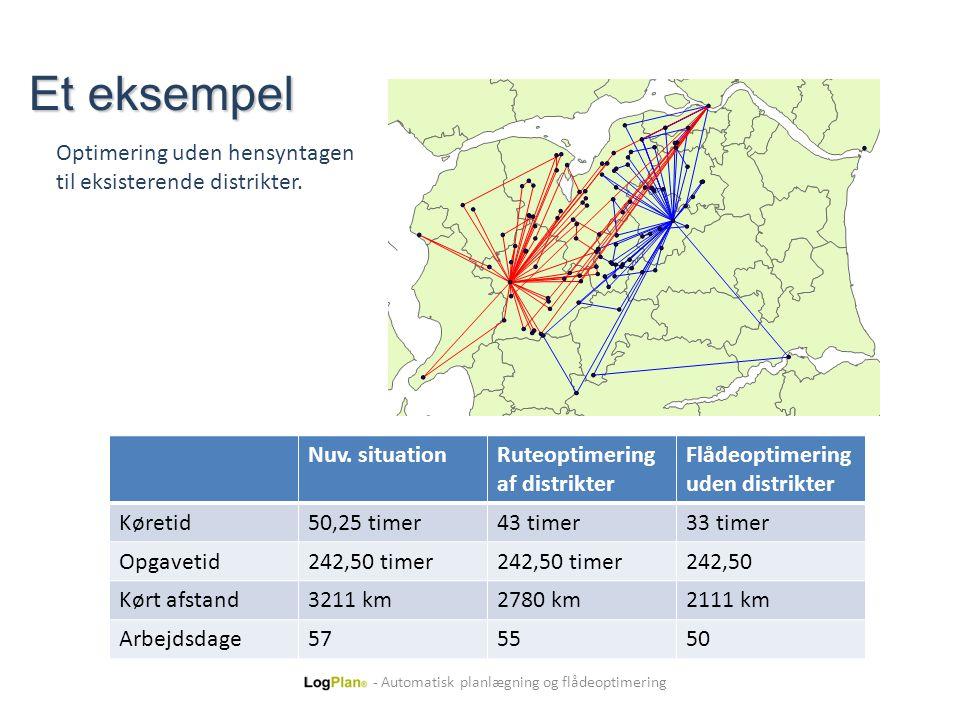 Et eksempel Optimering uden hensyntagen til eksisterende distrikter.