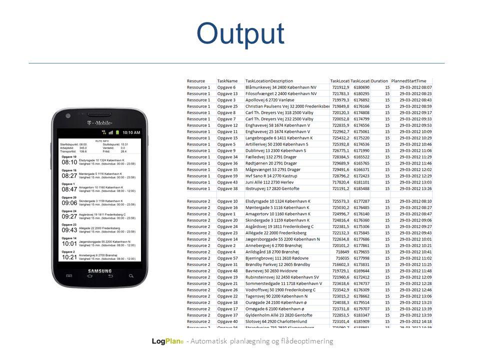 Output - Automatisk planlægning og flådeoptimering