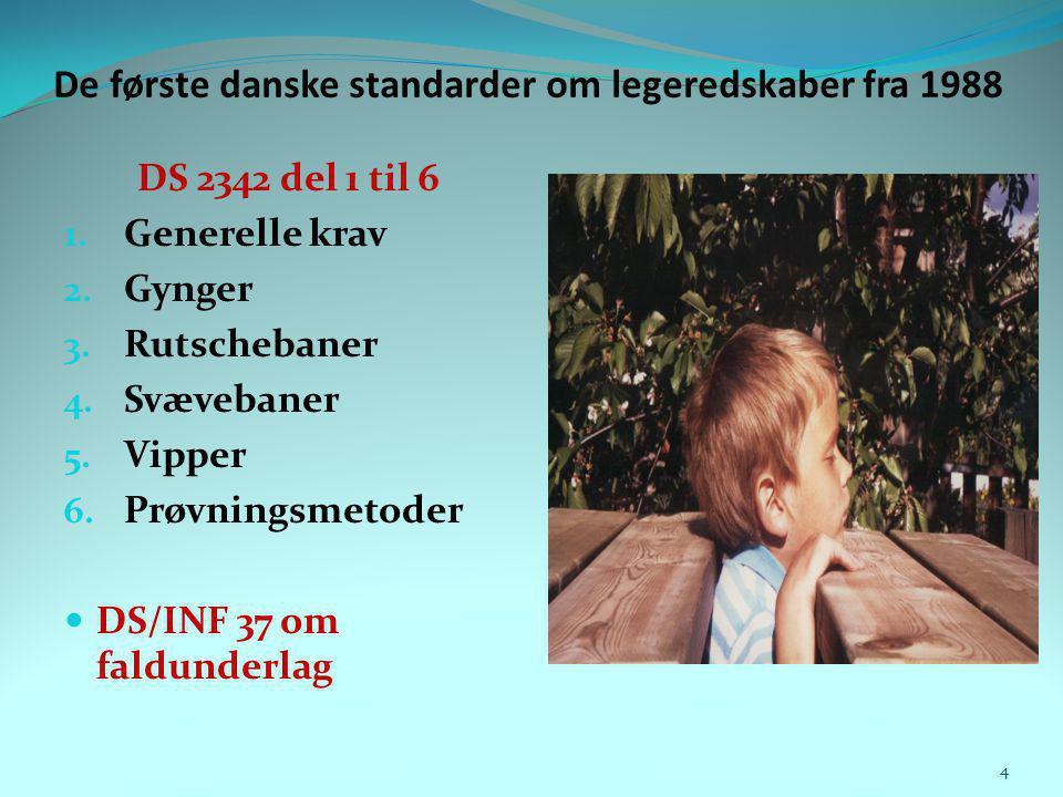 De første danske standarder om legeredskaber fra 1988