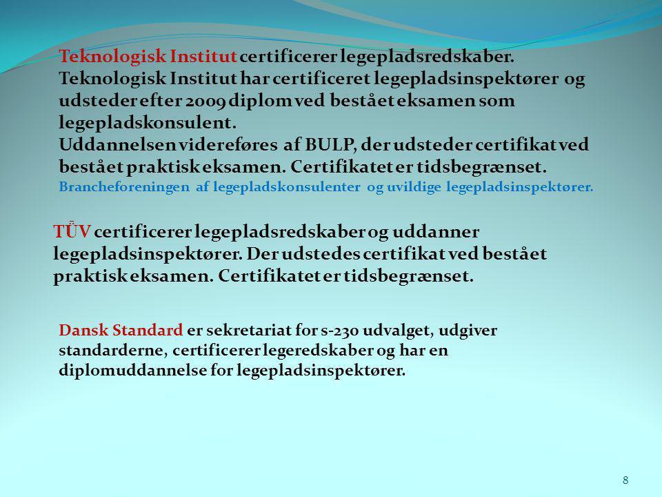Teknologisk Institut certificerer legepladsredskaber.