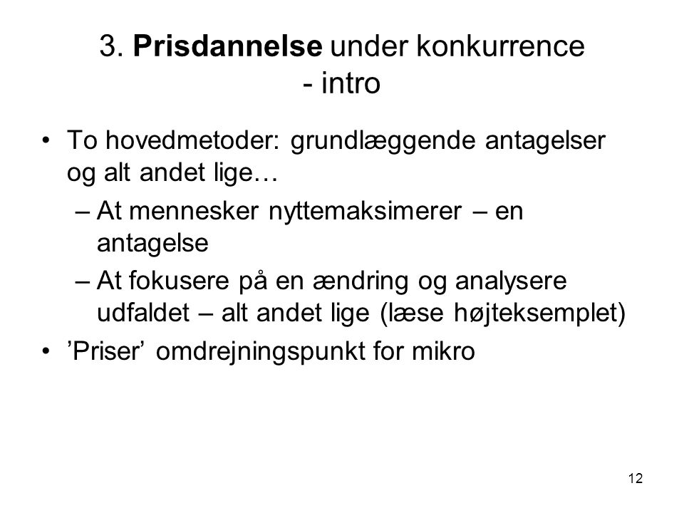 3. Prisdannelse under konkurrence - intro