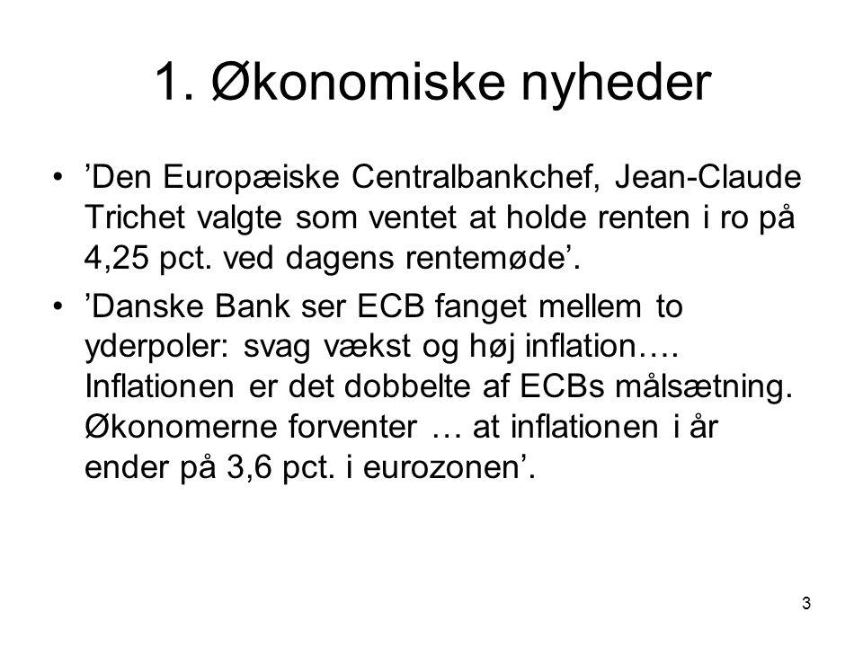 1. Økonomiske nyheder 'Den Europæiske Centralbankchef, Jean-Claude Trichet valgte som ventet at holde renten i ro på 4,25 pct. ved dagens rentemøde'.