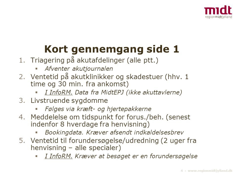 Kort gennemgang side 1 Triagering på akutafdelinger (alle ptt.)
