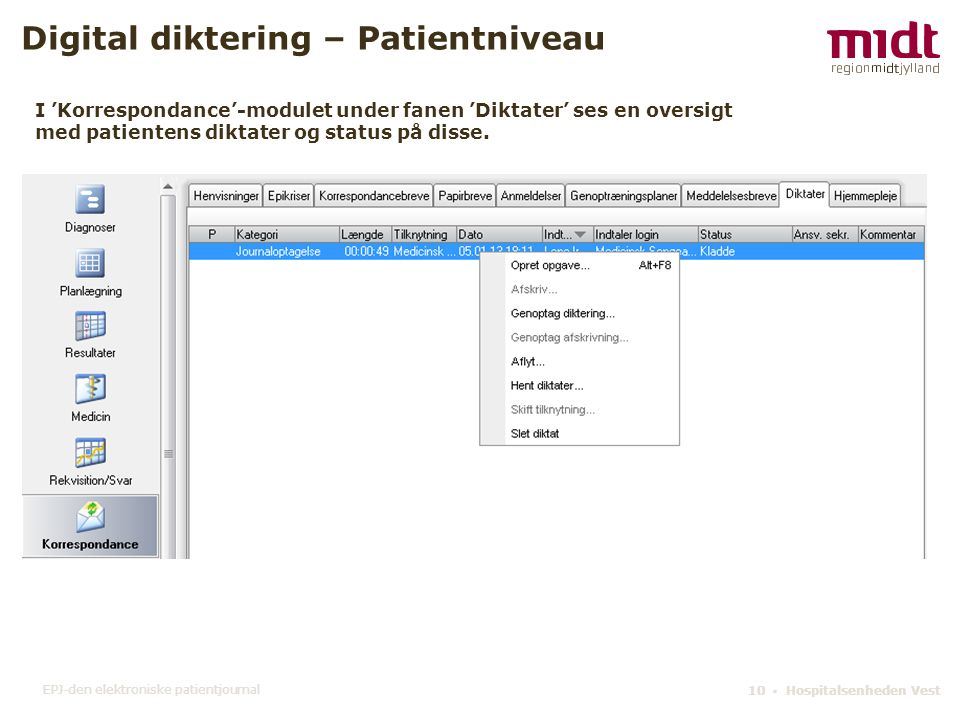 Digital diktering – Patientniveau
