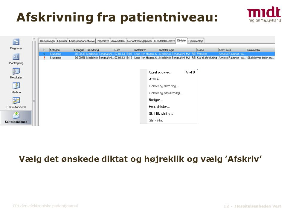 Afskrivning fra patientniveau: