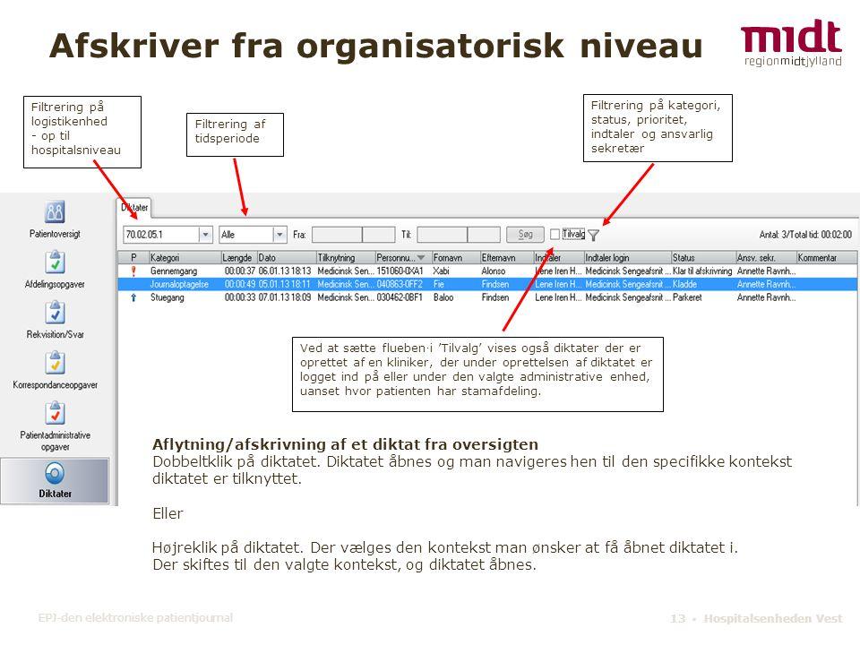 Afskriver fra organisatorisk niveau