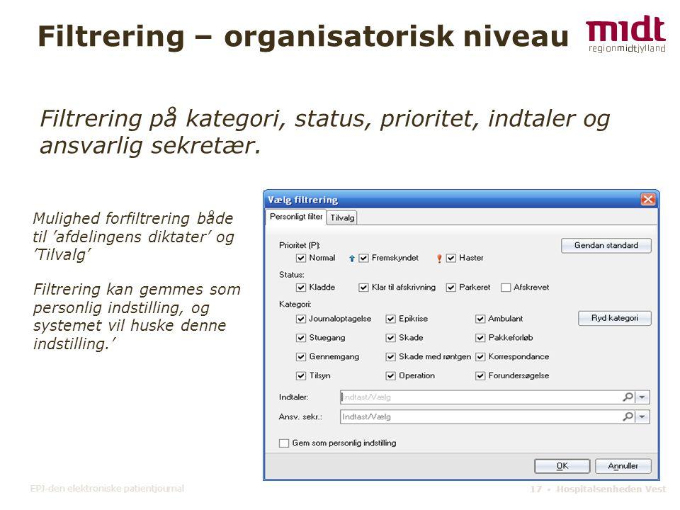 Filtrering – organisatorisk niveau