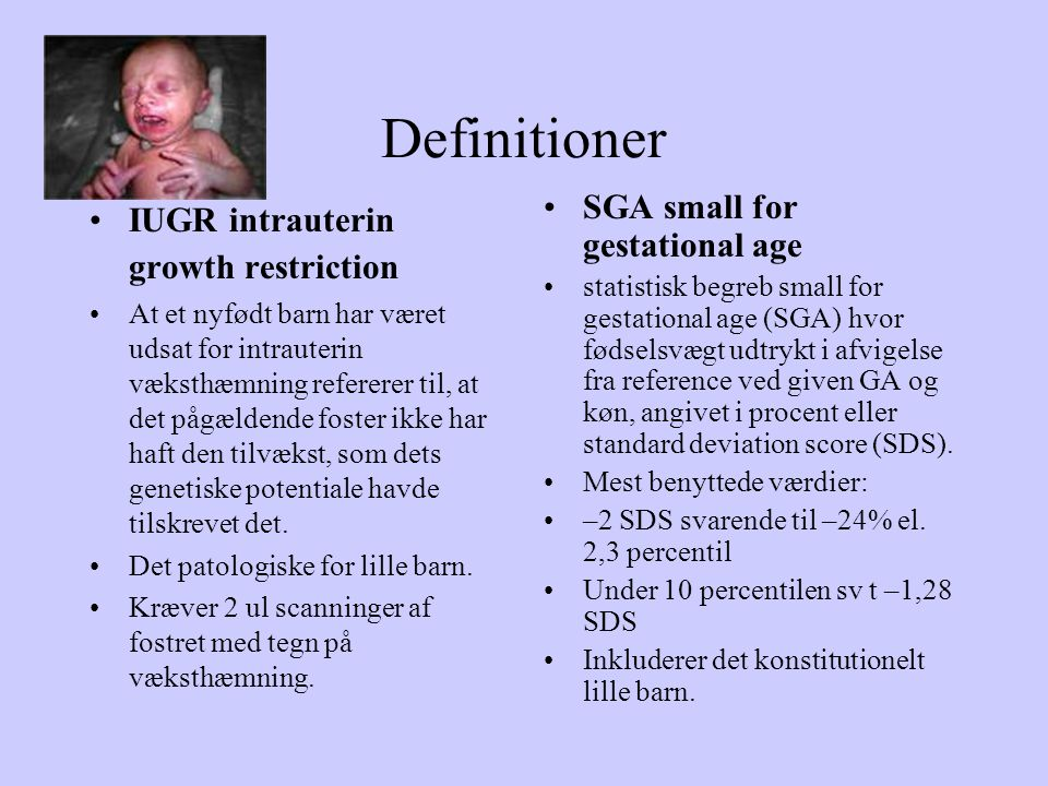 Definitioner SGA small for gestational age