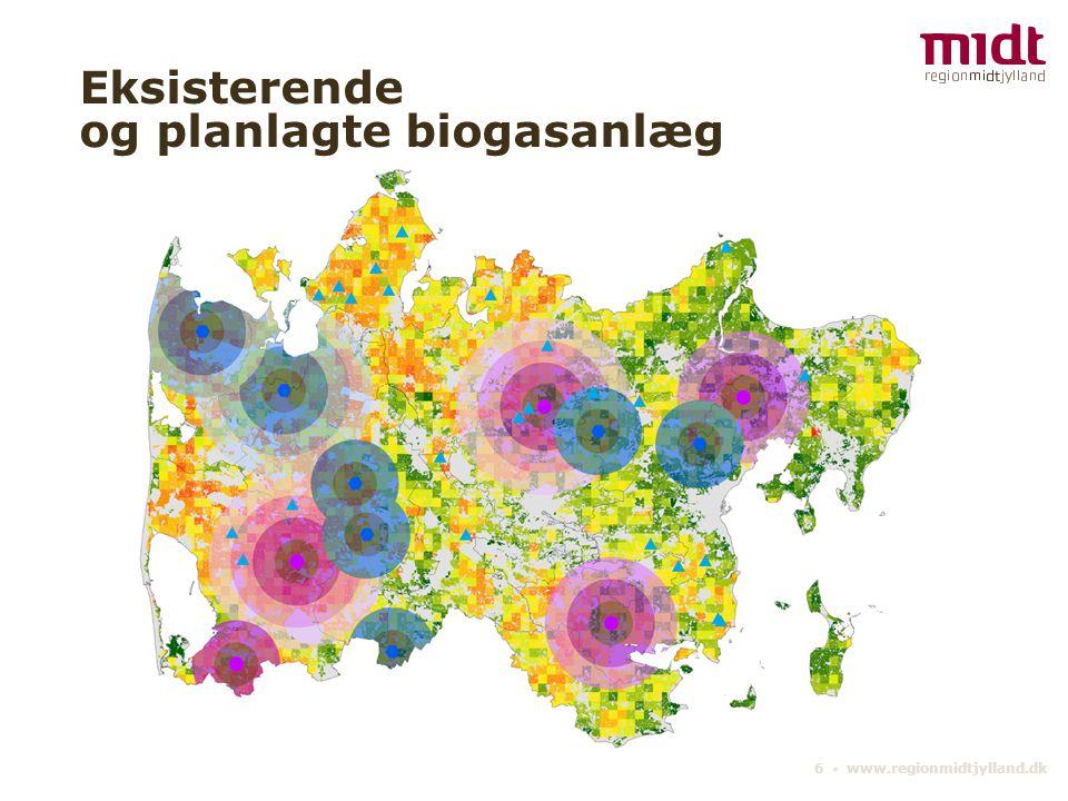 Eksisterende og planlagte biogasanlæg