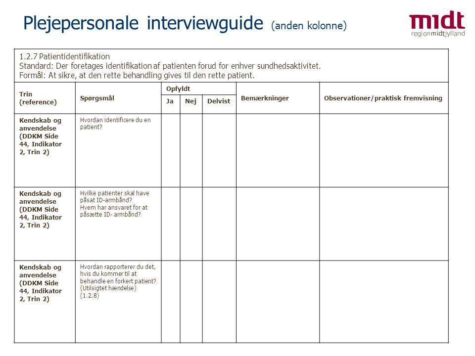 Plejepersonale interviewguide (anden kolonne)
