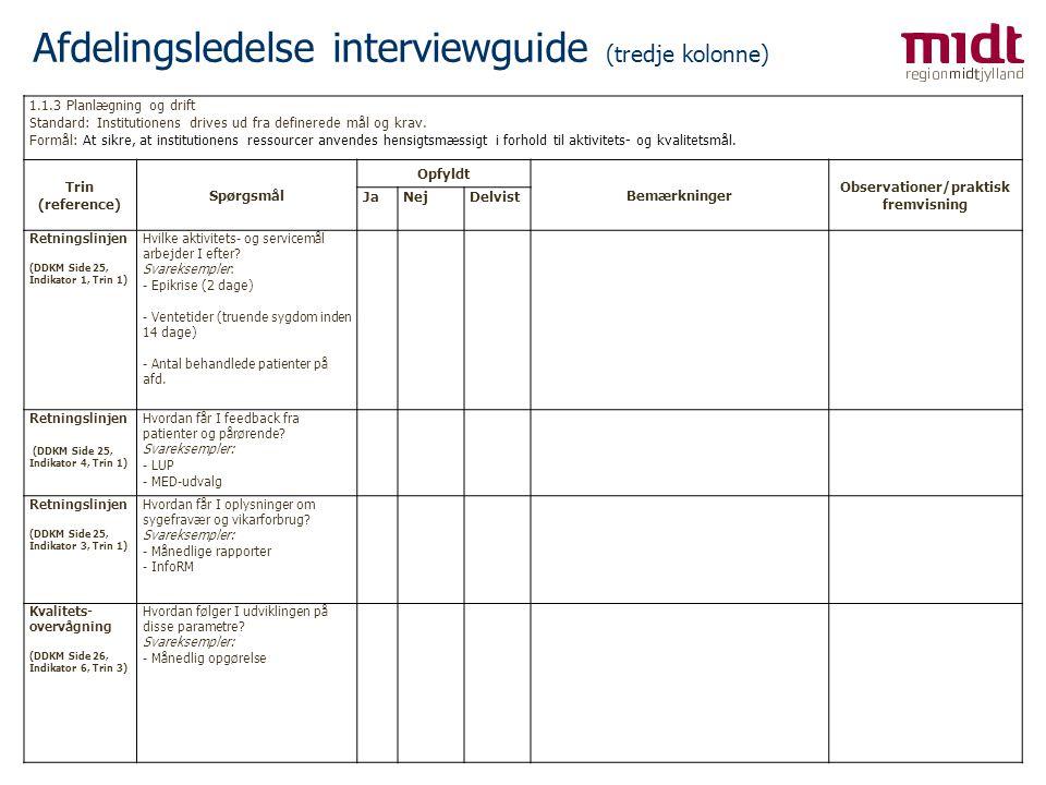 Afdelingsledelse interviewguide (tredje kolonne)