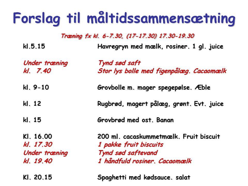 Forslag til måltidssammensætning