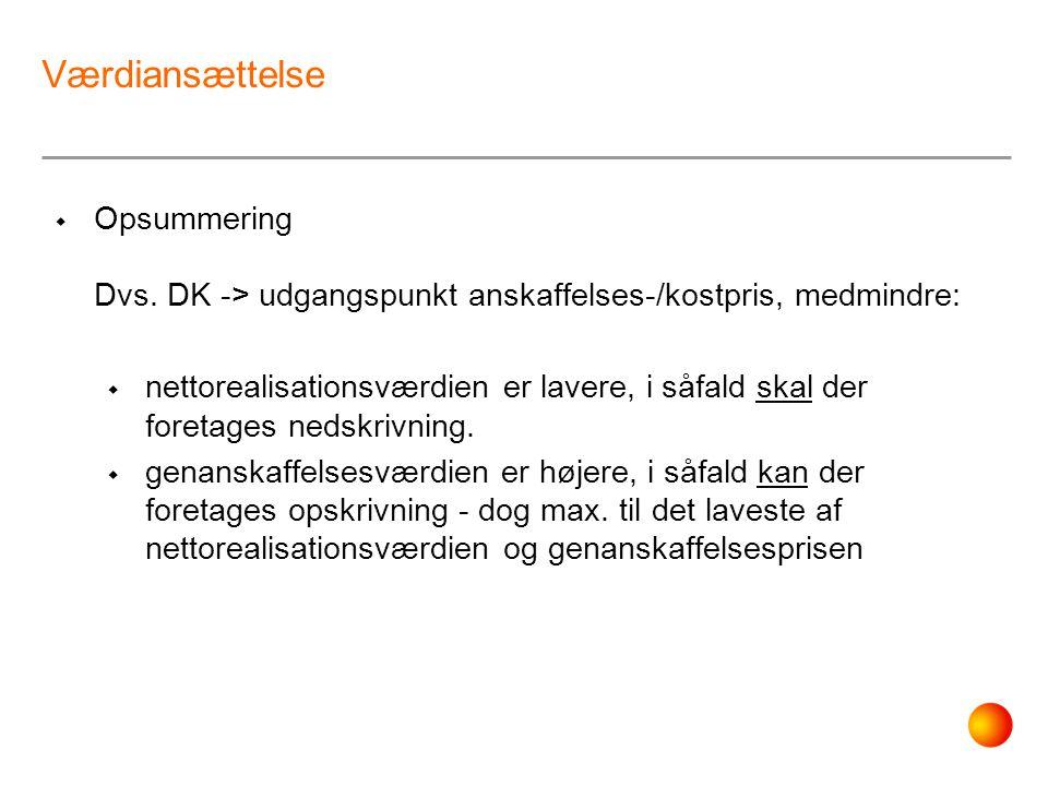 Værdiansættelse Opsummering Dvs. DK -> udgangspunkt anskaffelses-/kostpris, medmindre:
