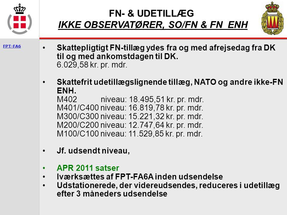FN- & UDETILLÆG IKKE OBSERVATØRER, SO/FN & FN ENH