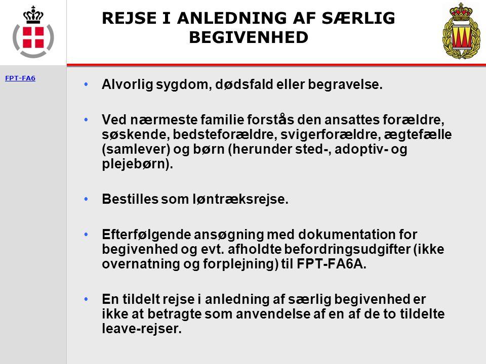 REJSE I ANLEDNING AF SÆRLIG BEGIVENHED