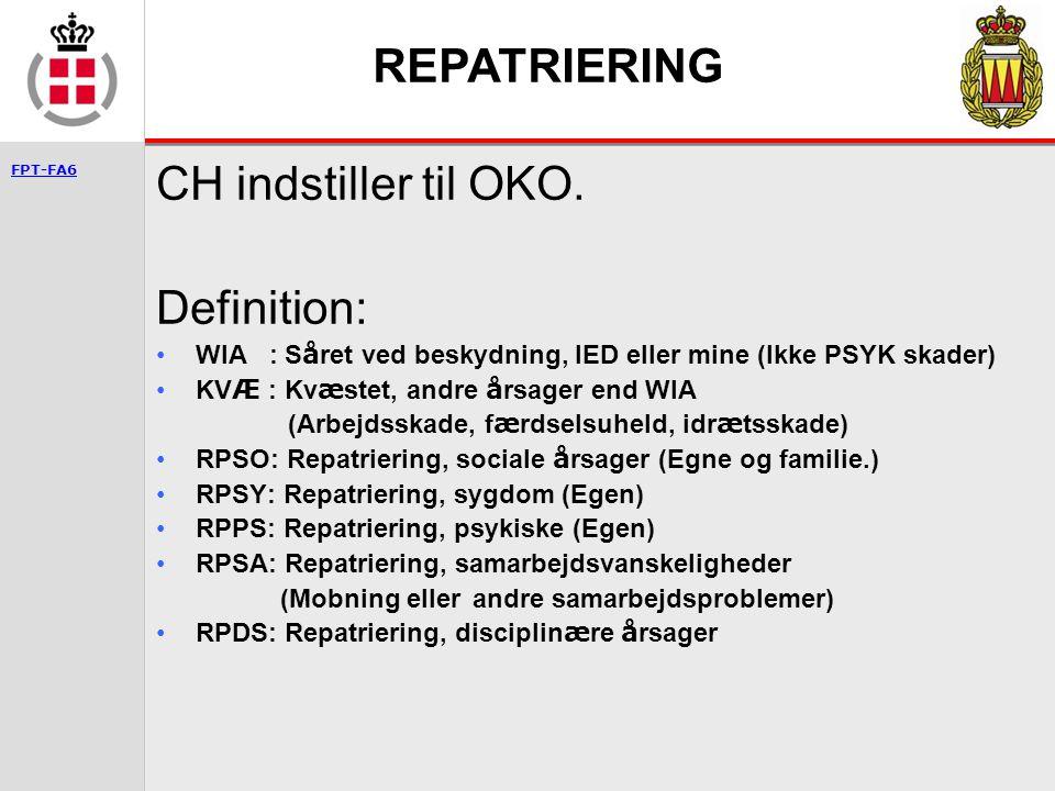 REPATRIERING CH indstiller til OKO. Definition: