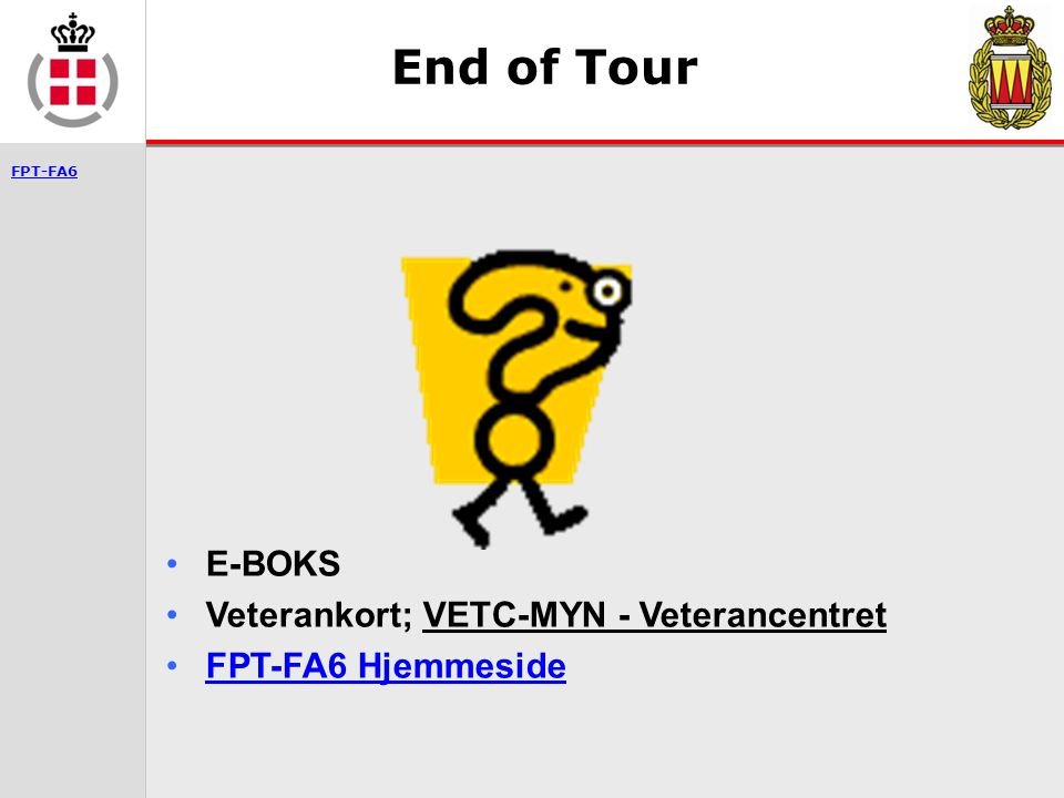 End of Tour E-BOKS Veterankort; VETC-MYN - Veterancentret