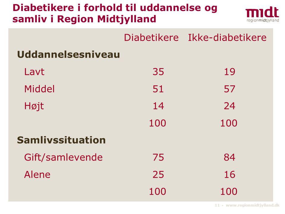 Diabetikere i forhold til uddannelse og samliv i Region Midtjylland