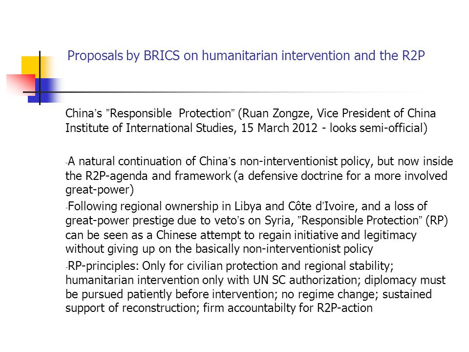 Proposals by BRICS on humanitarian intervention and the R2P