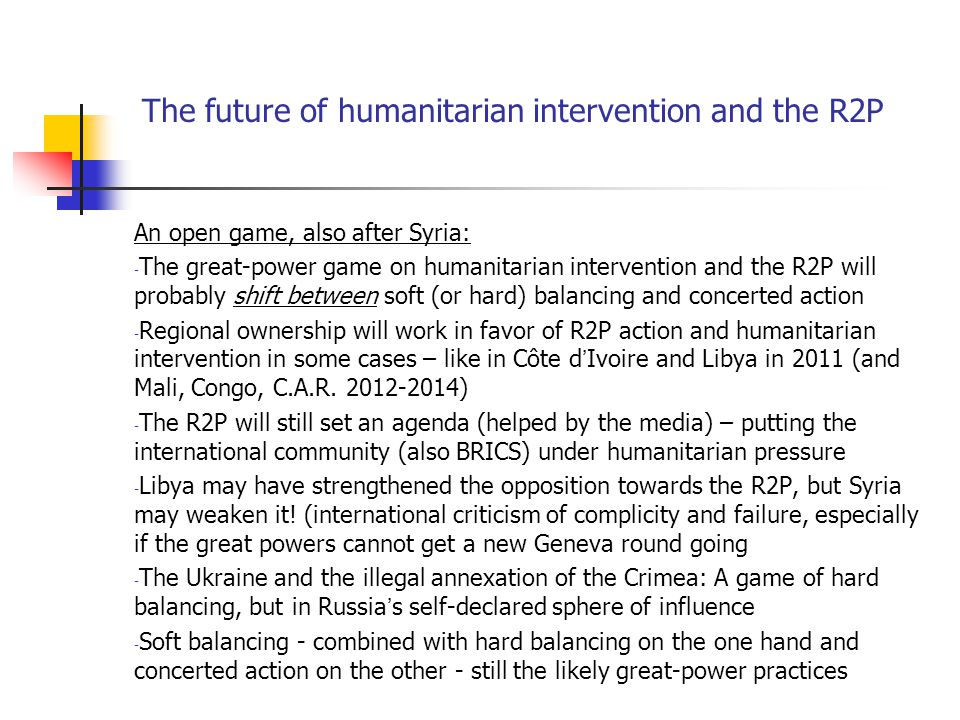 The future of humanitarian intervention and the R2P