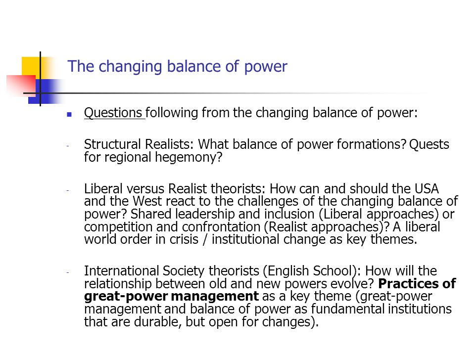 The changing balance of power