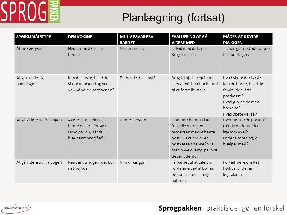 Planlægning (fortsat)
