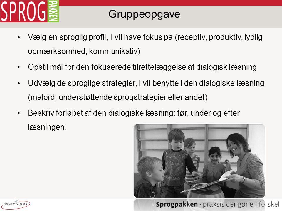 Gruppeopgave Vælg en sproglig profil, I vil have fokus på (receptiv, produktiv, lydlig opmærksomhed, kommunikativ)