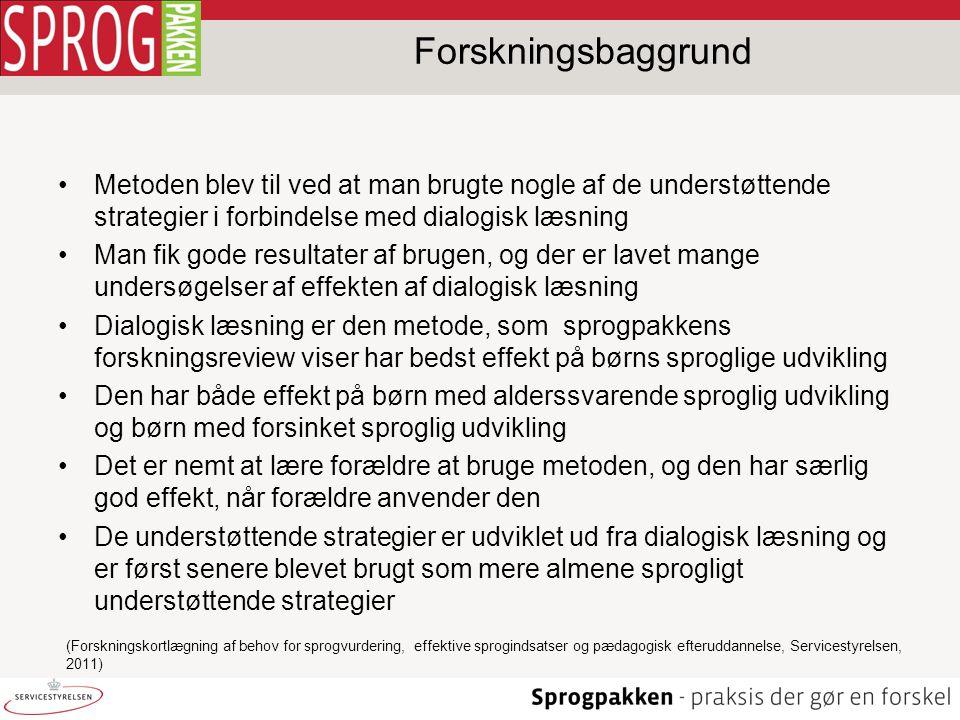 Forskningsbaggrund Metoden blev til ved at man brugte nogle af de understøttende strategier i forbindelse med dialogisk læsning.