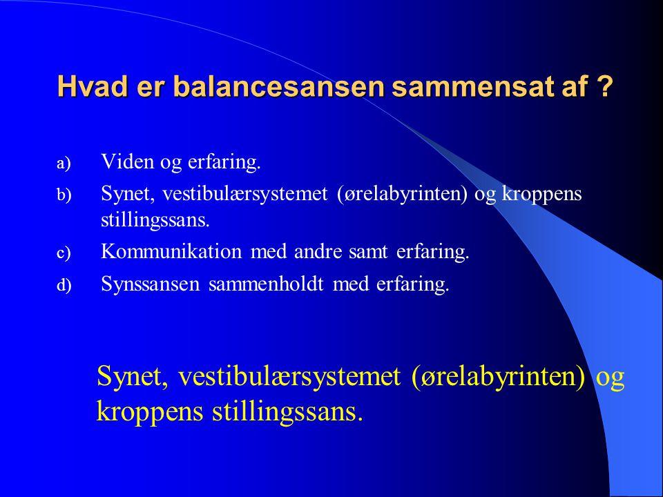Hvad er balancesansen sammensat af