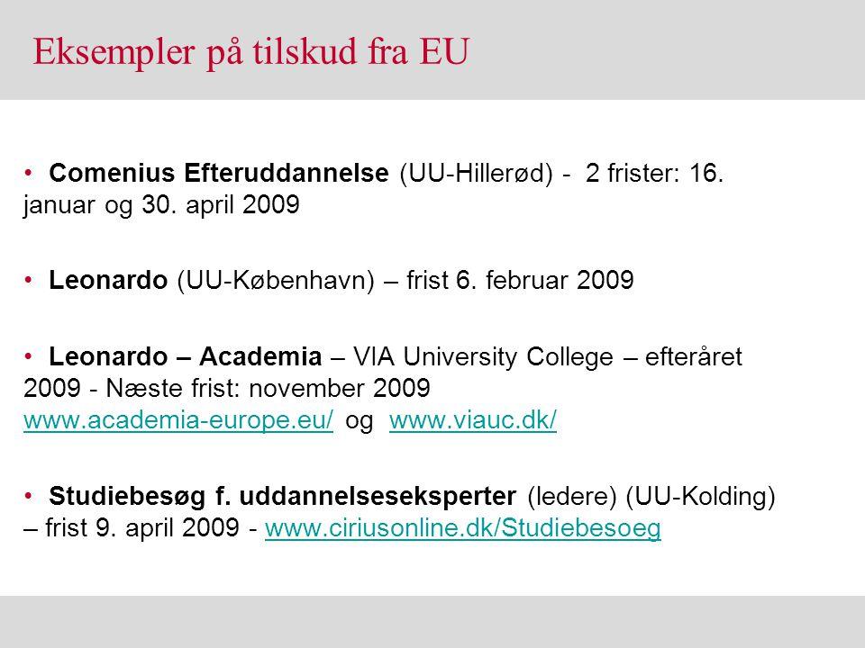 Eksempler på tilskud fra EU