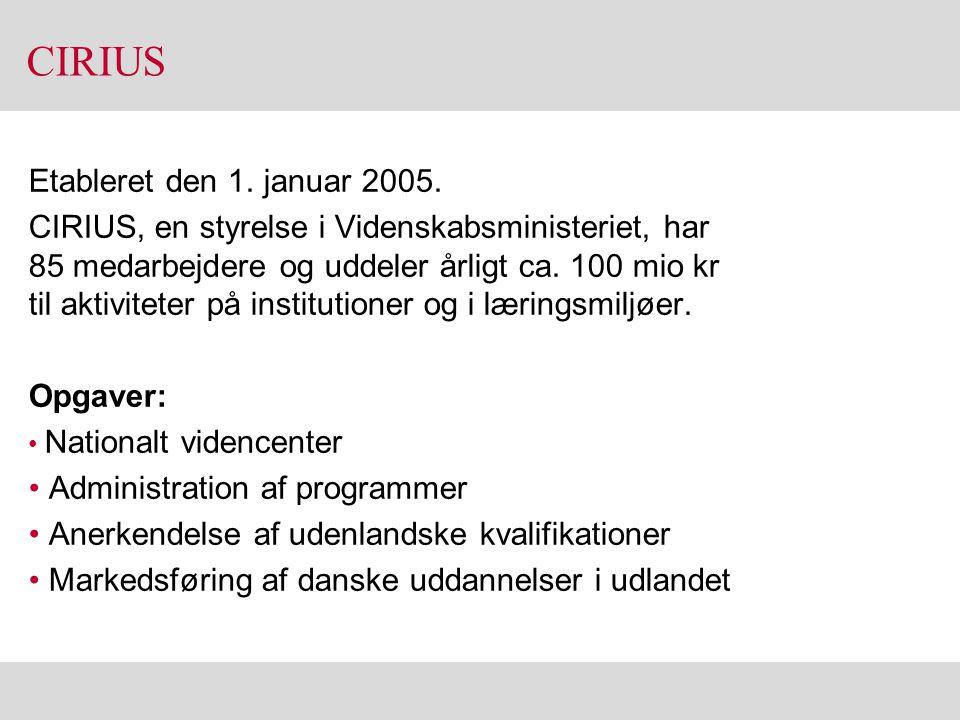 CIRIUS Etableret den 1. januar 2005.