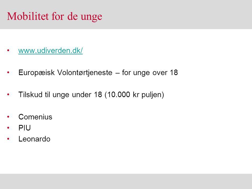 Mobilitet for de unge www.udiverden.dk/
