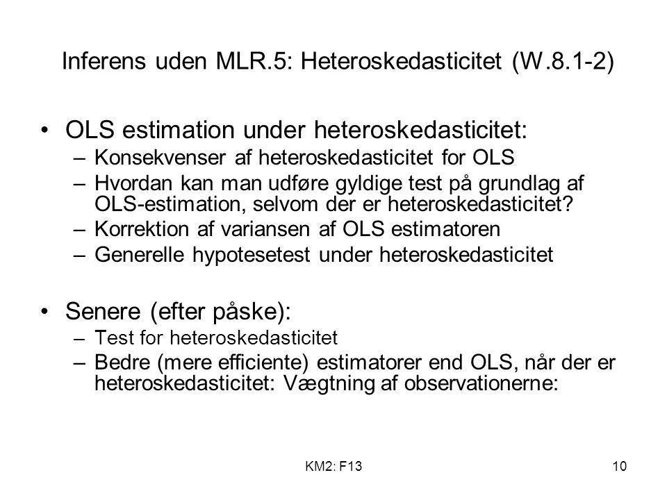Inferens uden MLR.5: Heteroskedasticitet (W.8.1-2)
