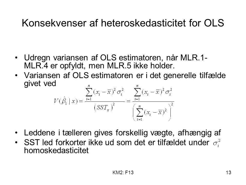 Konsekvenser af heteroskedasticitet for OLS