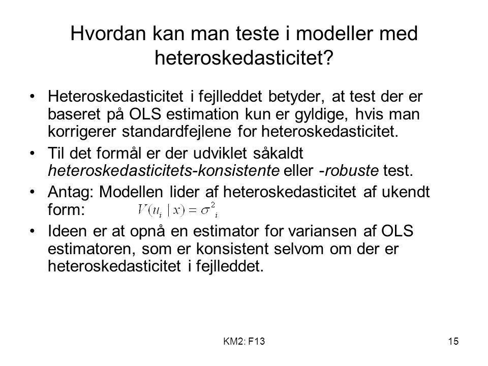Hvordan kan man teste i modeller med heteroskedasticitet