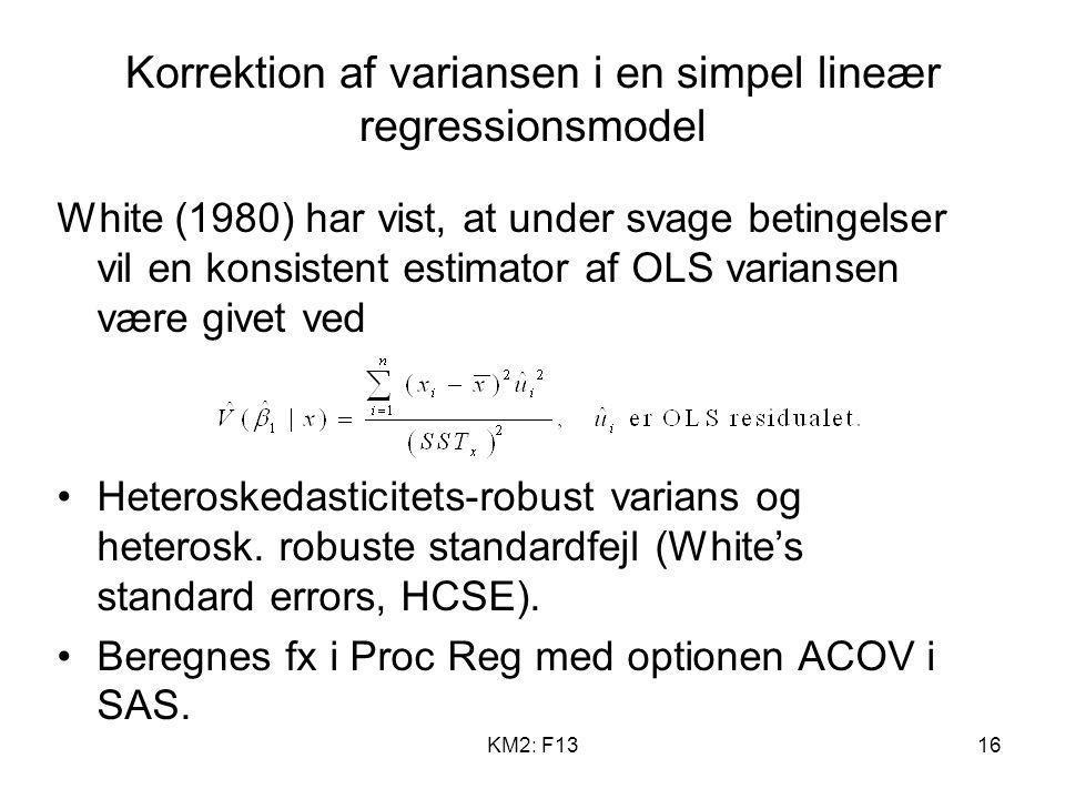 Korrektion af variansen i en simpel lineær regressionsmodel