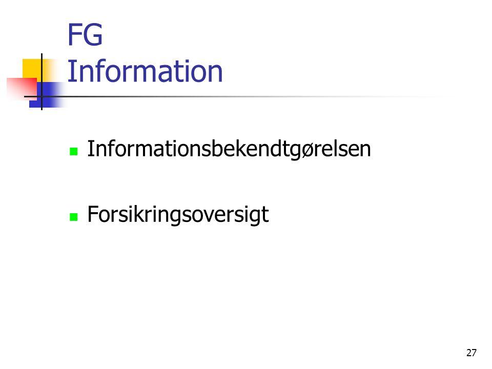 FG Information Informationsbekendtgørelsen Forsikringsoversigt