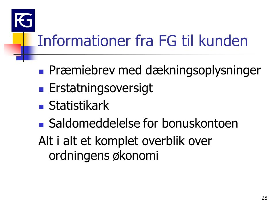 Informationer fra FG til kunden