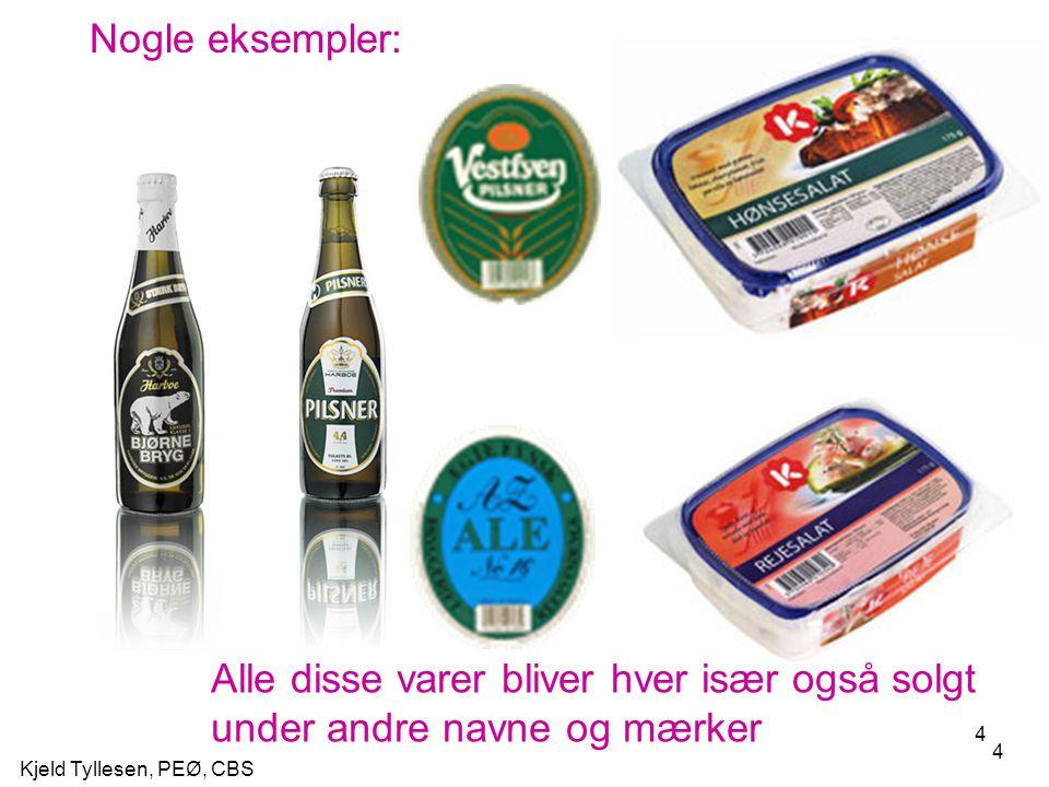 Nogle eksempler: Alle disse varer bliver hver især også solgt under andre navne og mærker.